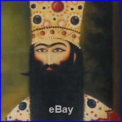 Empire Perse Fath Ali Shah Kadjar Antique Islamic Grande Peinture Qajar HST XXE