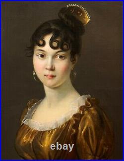 Entourage Du Baron Gérard (1770-1837), Portrait Femme, peinture ancienne, Empire