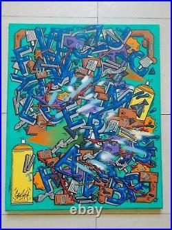 Ermone Peinture Originale sur Toile, Street Art Graffiti 2010