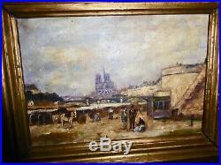 Eugène Galien Laloue peinture HST Notre Dame de Paris XIXe