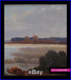 Eugène Petit 1839-1886 Huile Sur Toile Peinture Scene De Chasse Chiens Xixème
