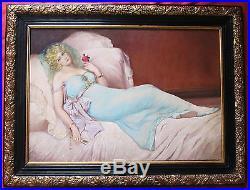 Exceptionnelle huile art déco par Emma Bihari élégante allongée sur le lit