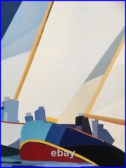 FOUGERAND. LAURENT Les Voiliers Huile sur toile 73 cm x 60 cm