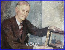 F. Haas. F 1943. Grand Portrait D'homme Élégamment Habillé. École Allemande