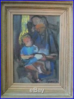 Femme et enfant, 1950. Tableau de Jean Hugon (1919-1990) Marseille-Bordeaux