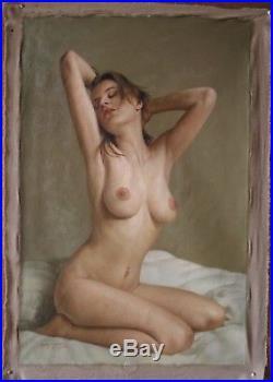 Femme nue intégrale tableau peinture huile sur toile signée