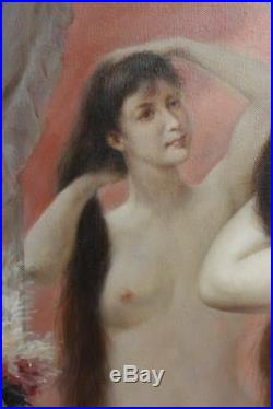Femme nue tableau peinture huile sur toile signée / painting on canvas