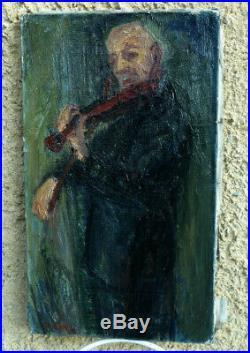 François Diana 1903-1993. Le Vieux Violoniste. Très Intéressante Toile 1930