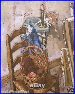Françoise ADNET (1914-2014) HsT Années 70' Nle Ecole de Paris Jeune Peinture
