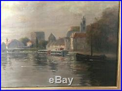 Frank Watkins Bord de rivière huile sur toile, début XX, Moret sur loing Paysage