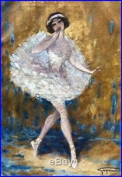 GAYAC Ernest Huile Toile Portrait Fille Danseuse Ballerine Art Déco Dancing Girl