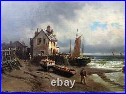 GODCHAUX Emile (1860-1938) Superbe HST Marine Signée
