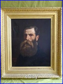 GRANDE & BELLE PEINTURE XIXe/AUTO-PORTRAIT SIGNÉ GUSTAVE MOHLER (1836-1920)