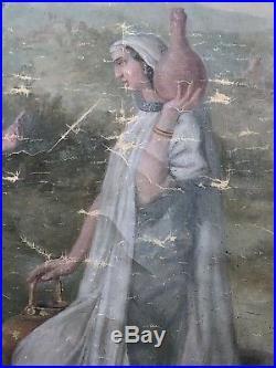 GRANDE PEINTURE RELIGIEUSE SUR TOILE XIXème 19th tableau 168 x 123cm christ