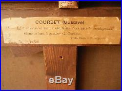 GUSTAVE COURBET PEINTURE TABLEAUX ANCIEN (LAC LEMAN) signè en bas a gauche