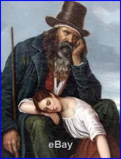 G. Bequet 1839. Très Grande Peinture Romantique. Couple De Bergers Face A La Mer