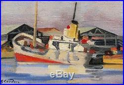 Gabriel Émile Antoine COUDERC tableau marine art moderne remorqueur port Sète