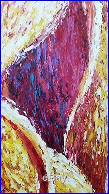 GalinaN''HAPPY IN LOVE'' Peinture à l'huile sculptée sur toileTRES GRAND FORMAT