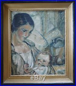 Georges FERRÉ (1853-1924) HsT Signée Art Nouveau Nabi Maternité Maternity