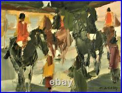 Gérard Ellis. (1920- 1998). Cavaliers au paddock. Huile sur toile v857