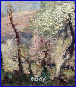 Grand & Magnifique Impressionniste 1920. Paysage Printanier Avec Berger Au Repos