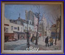 Grand TABLEAU peinture huile / toile Claude BILS (1884-1968) Montmartre Paris
