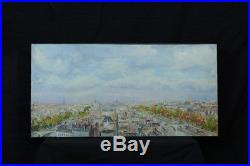 Grand Tableau Paysage Vue Paris Tour Eiffel Monument Pierre Peress Hst Panorama