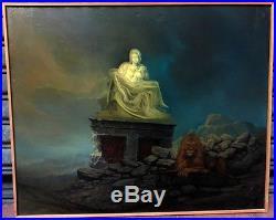 Grand Tableau Peinture Huile Religion Pieta Marie Jésus Lion Kozerawski 1991