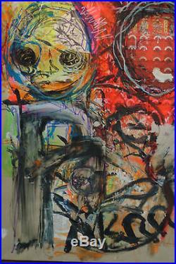 Grand Tableau Peinture sur toile MerrHeiM Expressionnisme Outsider Collage Rouge