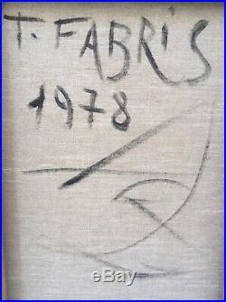 Grand Tableau Portrait Femme Cubiste Surrealiste Signé Tristan Fabris 1978
