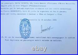 Grand Tableau Signé Pierre Ambrogiani 1958 Bouillabaisse Certificat Authenticité