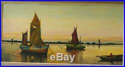 Grand Tableau vers 1930 Bateaux de pêche Marine