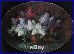 Grand bouquet de fleurs, de Lilas, du 19 ème siècle, 96 cm