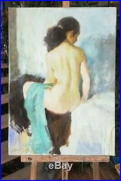 Grand huile /toile tableau Jeune femme nue signée Alexander SHEVCHUK