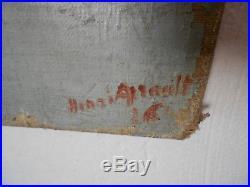 Grand tableau Marine HST goélettes au port signé Henri A. Lt 1926 peinture