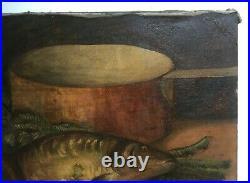 Grand tableau ancien, HST, Nature morte aux poissons, Retour de pêche, Début XXe
