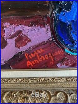 Grand tableau de Pierre Ambrogiani (1907-1985) Bouquet De Fleurs Au Vase Bleu