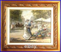 Grand tableau, peinture/huile/toile signée et encadrée Marchande de fleurs