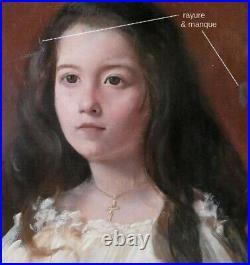 Grande & Belle Toile 1950. Jeune Fille Au Cheveux Long & A La Croix. Signée