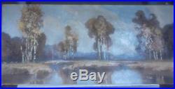 Grande Huile Sur Toile 1,3 M Lucien Peri Peintre Corse. Paysage Automne