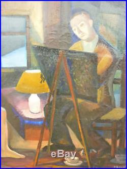 Grande Huile Sur Toile Le Peintre Et Son Modele Signee Paul Boudot 1951