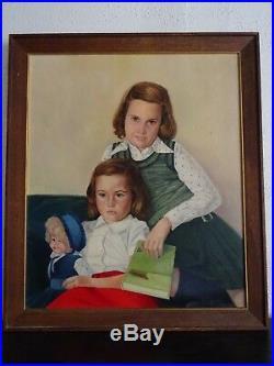 Grande & Ravissante Peinture Signée Des Années 50-portrait De Deux Jeunes Filles