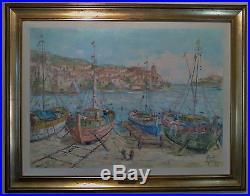 Grande peinture à l'huile sur toile encadrée COLLIOURE Philippe GIRAUDO