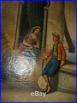 Grande peinture orientaliste fin XVIII/debut XIX doute trumeau bosphore turc