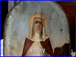 Grande peinture sur toile Sainte Claire d' Assise XIXe Siècle