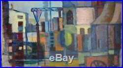 Gustav Thorsell Ecole Suedoise Paysage Industriel Cubiste Abstrait Huile 1960