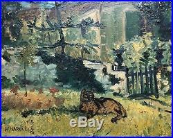 HASEGAWA Haruko Huile s/ Toile Jardin Chat Veyrier du Lac Savoie Art Japon 1930