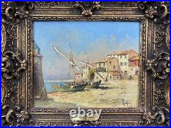 HENRY MALFROY (XIX-XXé) SuperbeTableau peinture H/T marine Les Martigues
