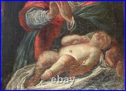 HST 17eme Vierge a l'Enfant peinture tableau