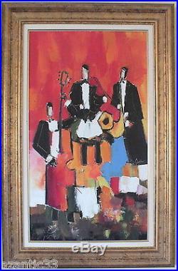 HST huile sur toile peinture de Lacaze Laban trio (3)